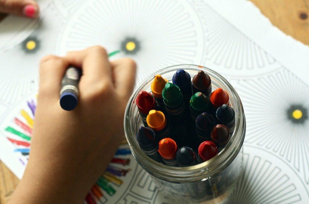 crayons, coloring book, coloring